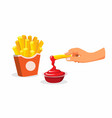 hand dip french fries to tomato sauce vector image vector image