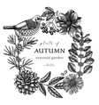 hand-sketched autumn wreath in vintage style vector image vector image
