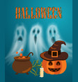 happy halloween pumpkin and candle poster vector image