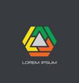 hexagon triangle business logo vector image vector image