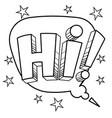 hi word comic book coloring vector image vector image