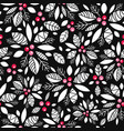 holly berry black white red holiday vector image