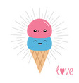 ice cream in waffle cone scoop set smiling vector image