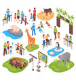 isometric zoo set vector image vector image