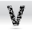 Letter V formed by inkblots vector image