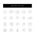 line icons set weather pack vector image