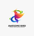 logo awesome bird gradient colorful style vector image vector image