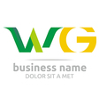Logo Letter W Combination G Alphabet Lettering vector image