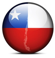 Map on flag button of Republic of Chile vector image