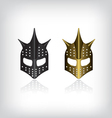 Medieval black and gold warrior helmet vector image vector image