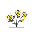 money grow coin leaf growth investment sprout vector image vector image