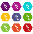 paintball gun charging icons set 9 vector image vector image
