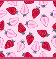 pattern with strawberry on pink vector image vector image