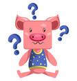 pigs with question marks on white background vector image