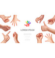 realistic female hand gestures concept vector image vector image