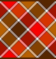 red orange color diagonal check plaid seamless vector image vector image