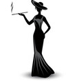 retro silhouette elegant smoking woman vector image