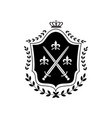 royal shield insignia with crown symbol decorated vector image vector image