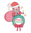 santa claus with bag and garland decoration vector image