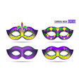 set mardi gras masks vector image