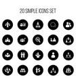 set of 20 editable cooperation icons includes vector image