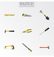 set of instruments realistic symbols with tongs vector image