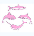 set of pink underwater animals whale shark narwhal vector image