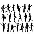 set silhouettes children jumping running vector image vector image