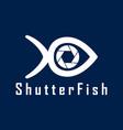 shutter fish photography logo design template vector image