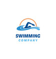 simple swimming pool silhouette water wave logo vector image vector image