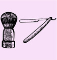 straight razor and shaving brush vector image