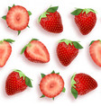 strawberry seamless pattern slices and whole vector image vector image
