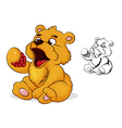 teddy bear eats raspberries vector image vector image