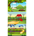 Three scenes of park and playground vector image vector image