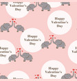 valentines pattern with elephants vector image vector image