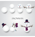 white winter happy snowman building eps10 vector image