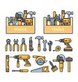 work tools icons - toolbox puncher drill wrench vector image vector image
