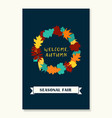 wreath of autumn leaves banner of autumn season vector image vector image
