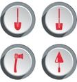 Building tools icon set Axe trowel shovel Work vector image
