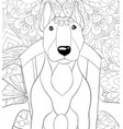 adult coloring bookpage a cute dog on the chair vector image