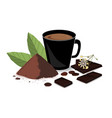 banner with cocoa powder chocolate bar cocoa vector image vector image