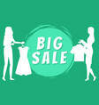 big sales women with clothes on hangers vector image