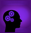 binary digital and human background in purple vector image vector image