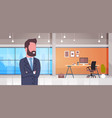 business man at workplace boss office desk with vector image