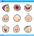 cartoon babies faces set vector image vector image