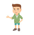 caucasian little boy gesturing with his hands vector image vector image