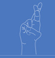 continuous one line hand gesture crossed fingers vector image vector image