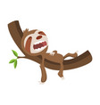 cute baby sloth sleeping on branch funny vector image