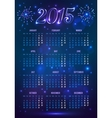 Dark blue 2015 year European calendar in magic vector image