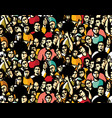 doodles happy crowd people audience seamless vector image